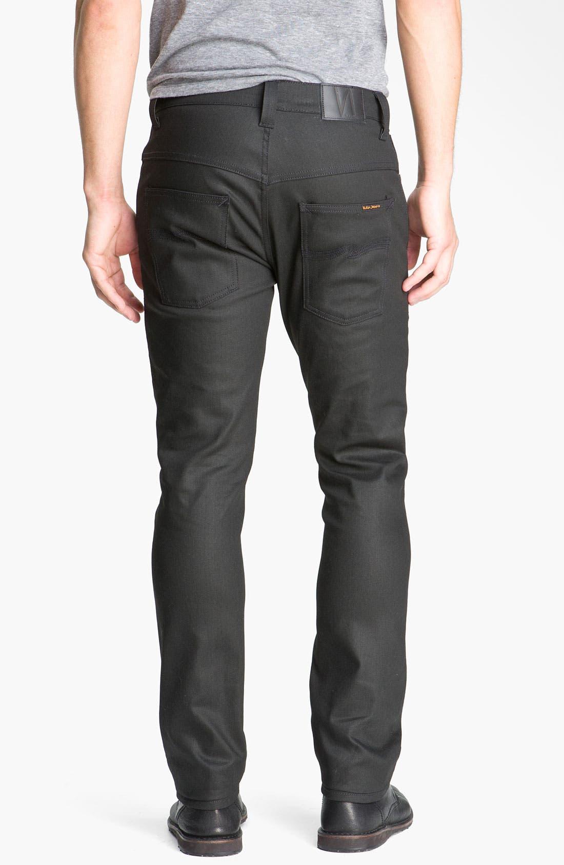 Alternate Image 1 Selected - Nudie 'Thin Finn' Skinny Jeans (Dry Black)