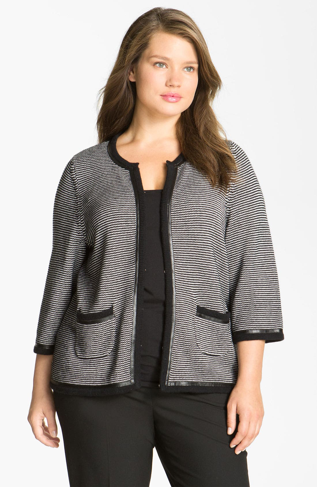 Alternate Image 1 Selected - Sejour Leather Trim Sweater Jacket (Plus)