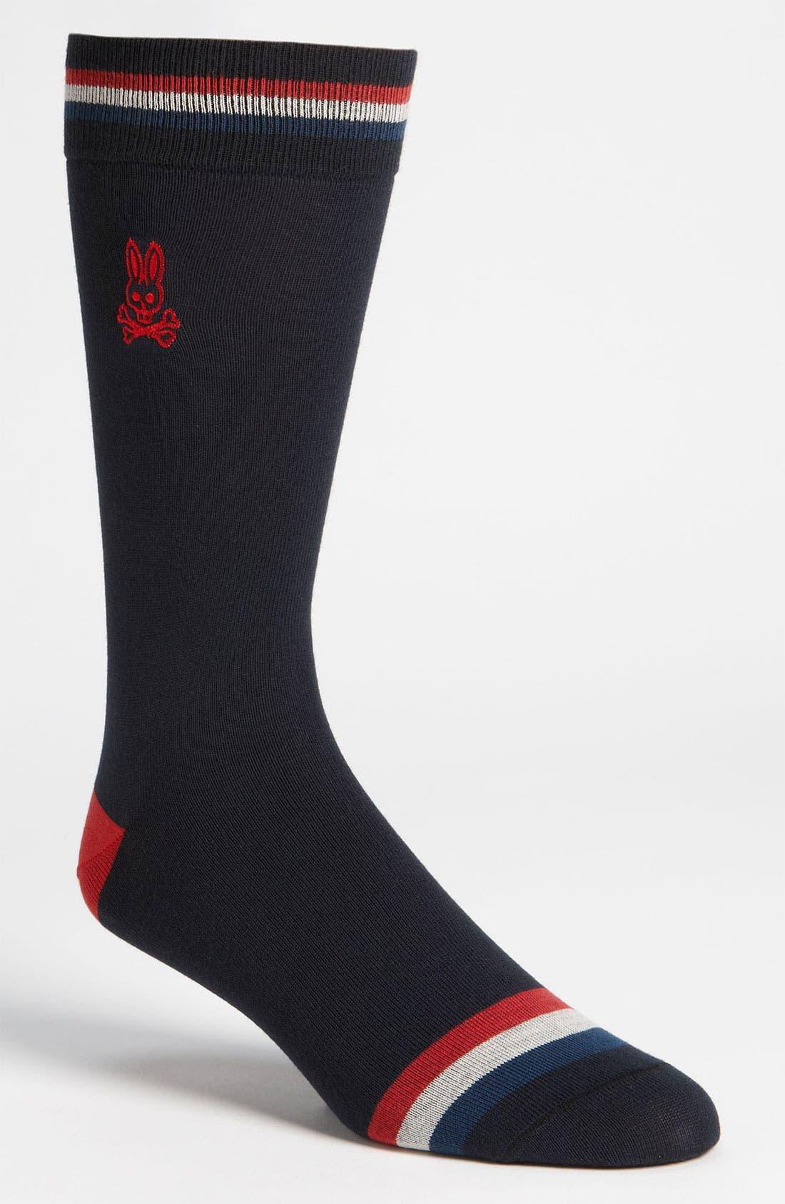 Main Image - Psycho Bunny Stripe Trim Socks