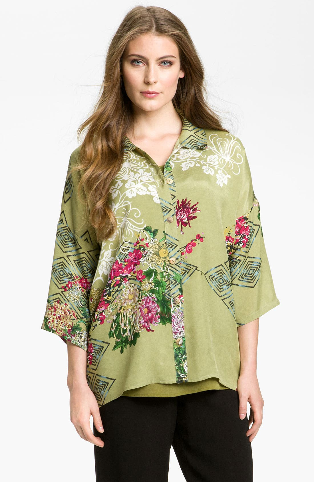 Alternate Image 1 Selected - Citron Print Silk Blouse