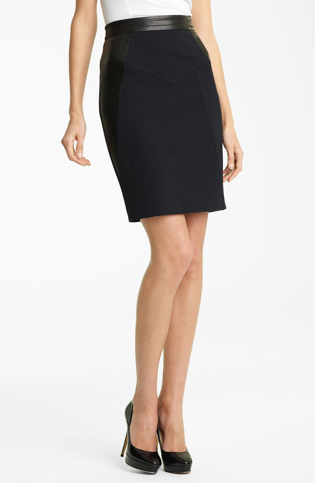 Alternate Image 1 Selected - Yigal Azrouël Leather Panel Ponte Skirt