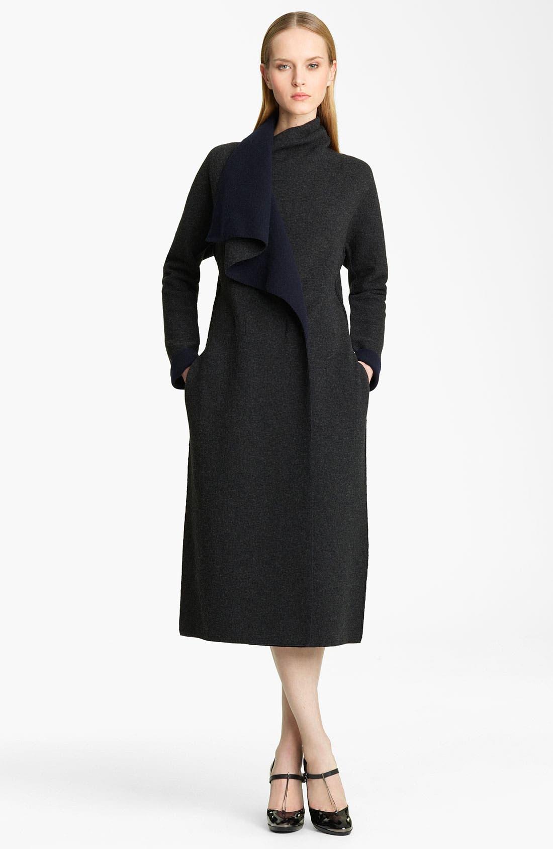 Alternate Image 1 Selected - Lanvin Bicolor Draped Wool Jersey Coat