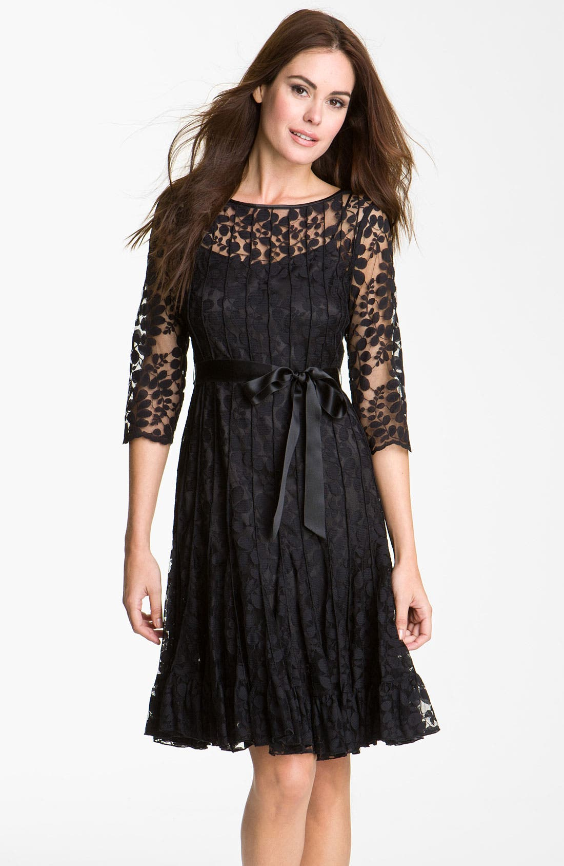 Main Image - Teri Jon Pintuck Mesh Overlay Dress