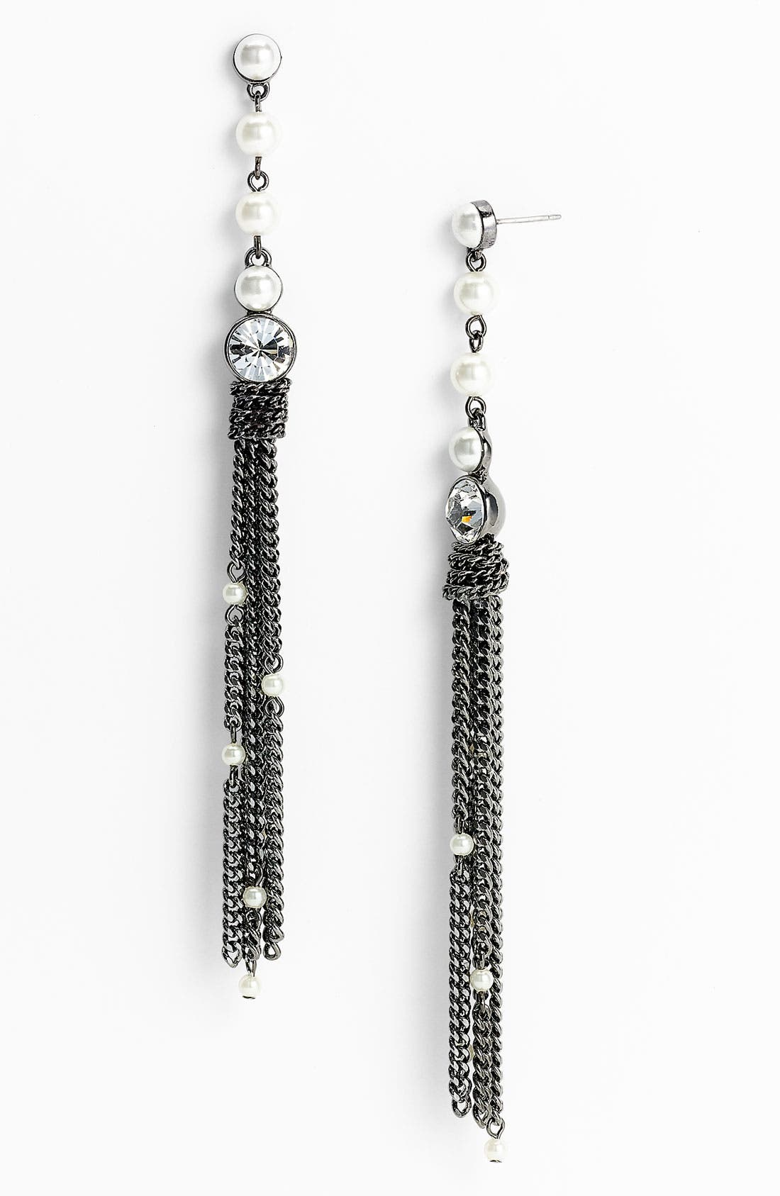 Main Image - Givenchy Glass Pearl Long Tassel Earrings