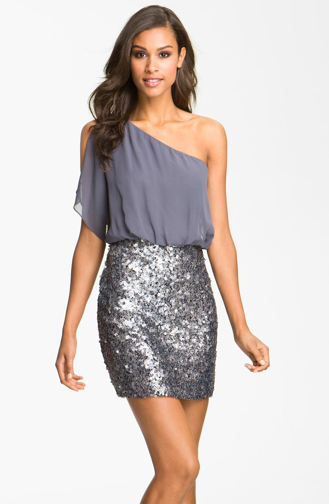 Main Image - Aidan Mattox Sequin One Shoulder Chiffon Dress