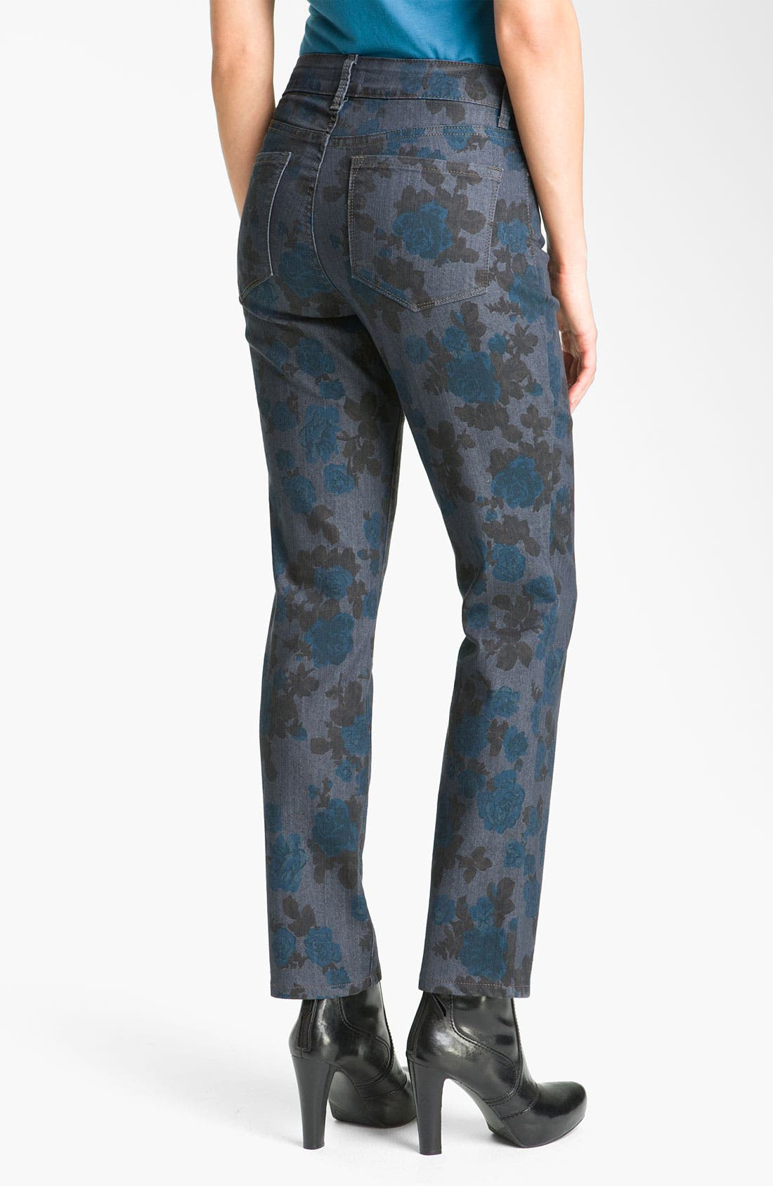 Alternate Image 4  - NYDJ 'Sheri - Wild Rose' Print Skinny Twill Jeans