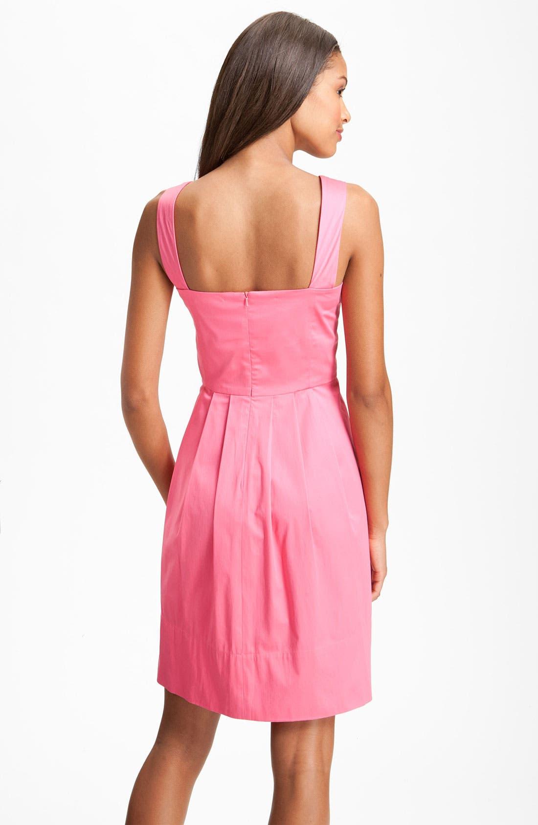 Alternate Image 2  - Donna Ricco Stretch Cotton Party Dress