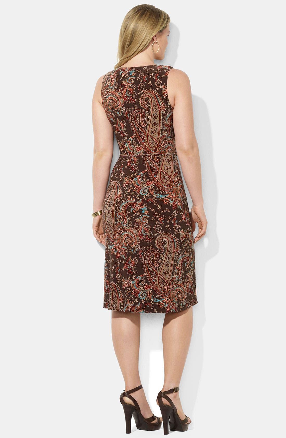 Alternate Image 2  - Lauren Ralph Lauren Sleeveless Faux Wrap Jersey Dress (Plus)