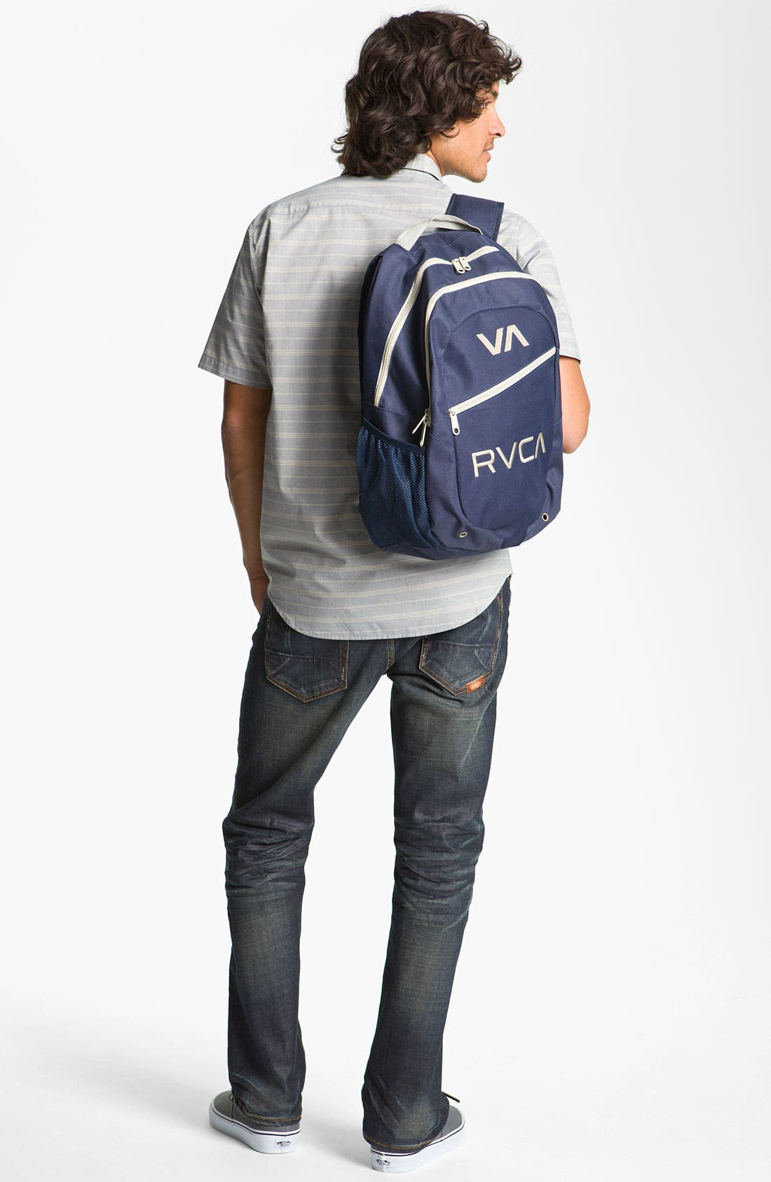 Alternate Image 3  - RVCA 'Mason' Stripe Woven Shirt