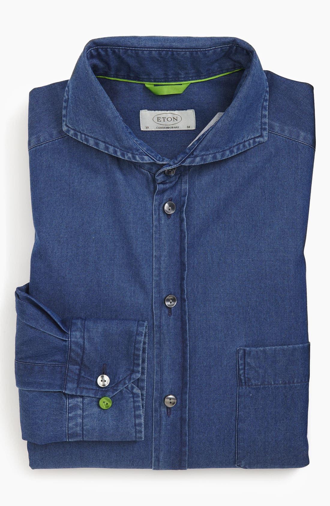Main Image - Eton Contemporary Fit Denim Non-Iron Dress Shirt