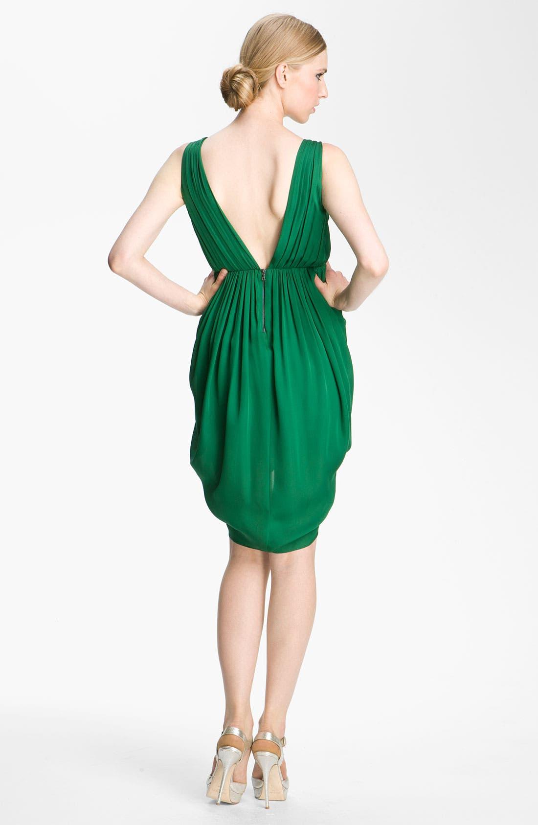 Alternate Image 2  - Alice + Olivia 'Marielle' Draped Silk Sleeveless Dress