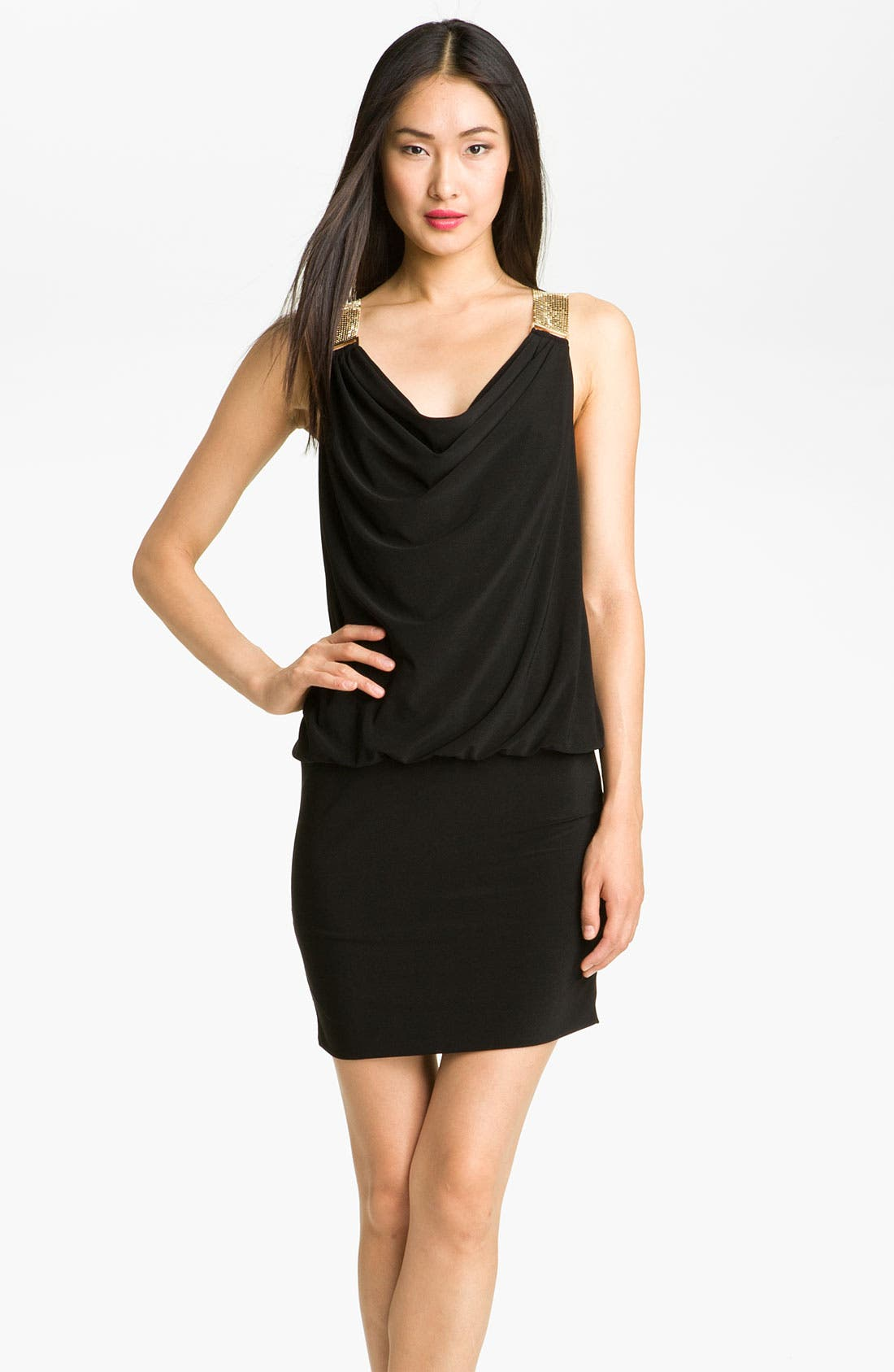 Main Image - Betsy & Adam Chain Mail Strap Jersey Blouson Dress