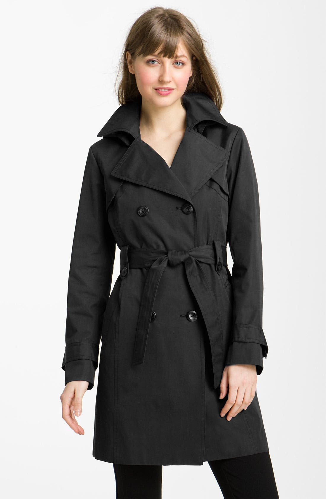 Alternate Image 1 Selected - Ellen Tracy Double Breasted Trench with Detachable Hood (Nordstrom Exclusive)
