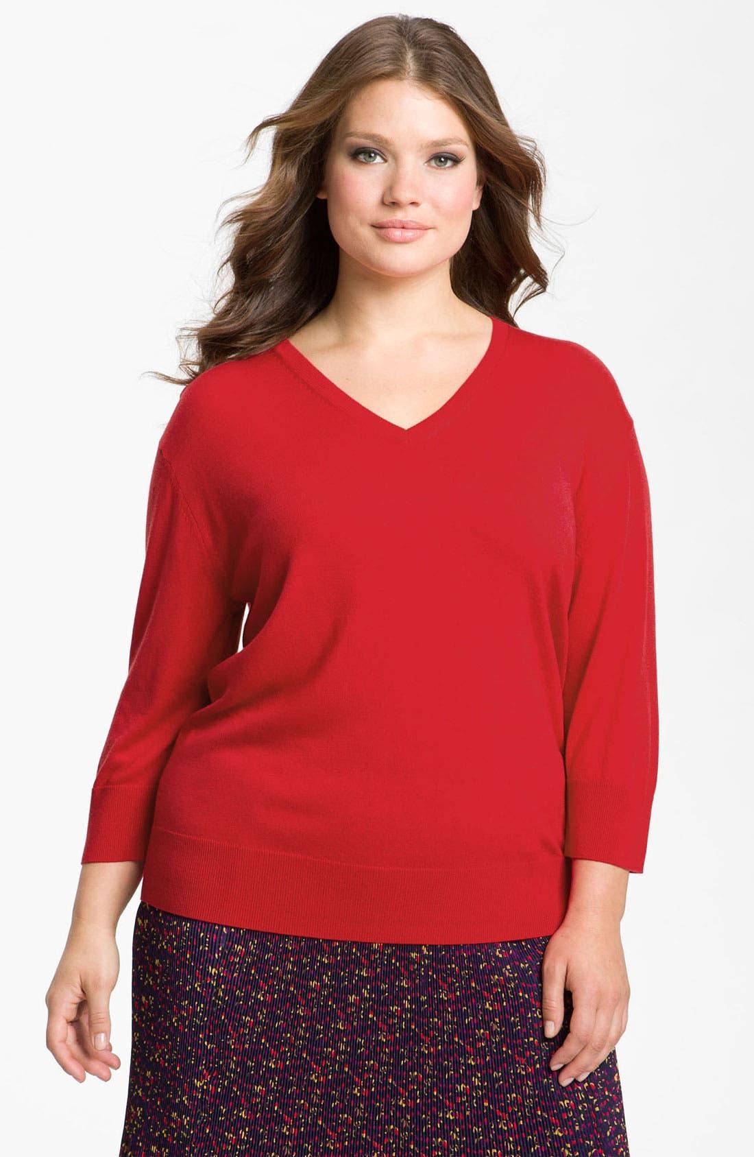 Alternate Image 1 Selected - Sejour Drop Shoulder Sweater (Plus)