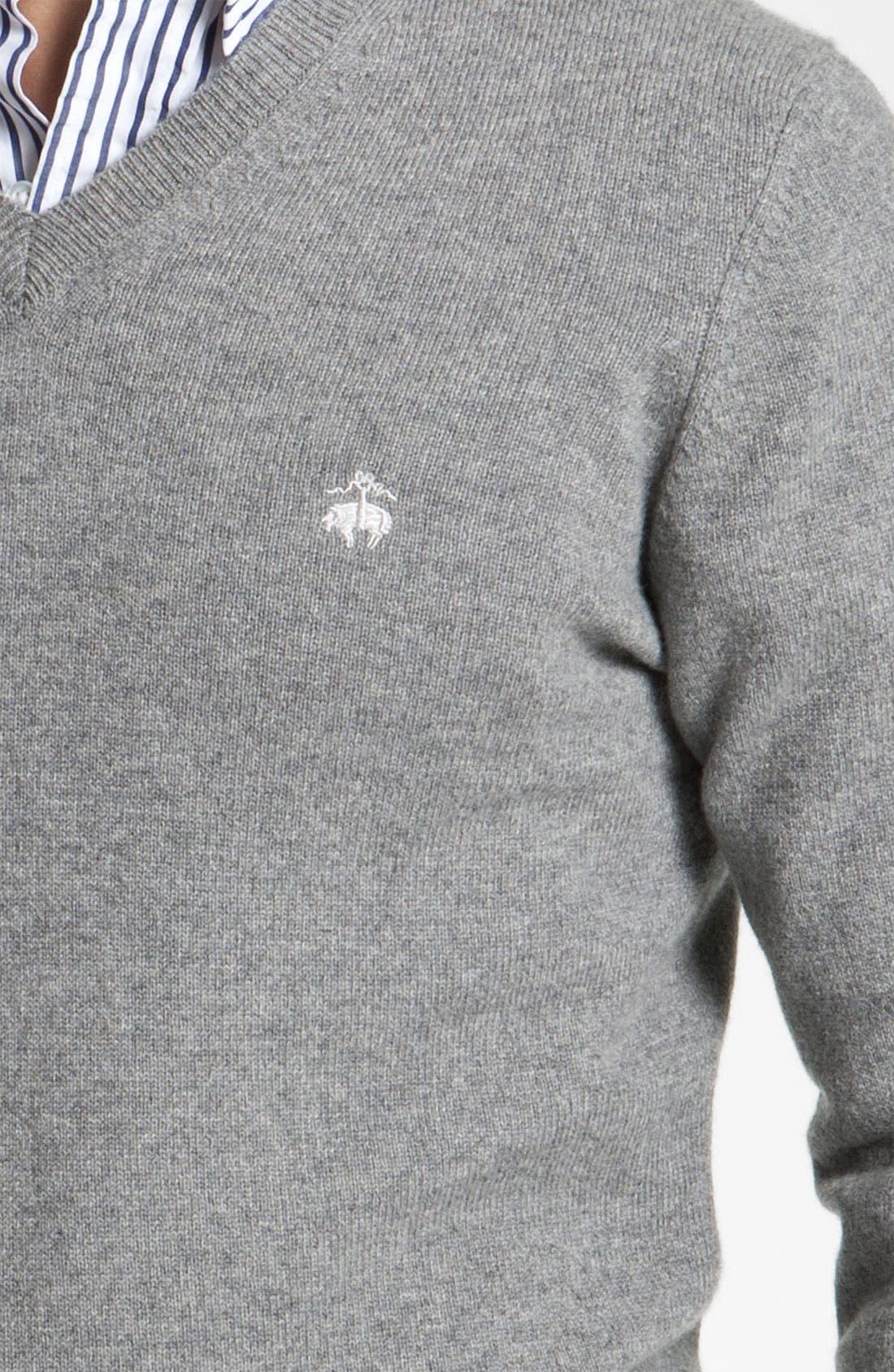 Alternate Image 3  - Brooks Brothers by Jeffrey V-Neck Cashmere Sweater