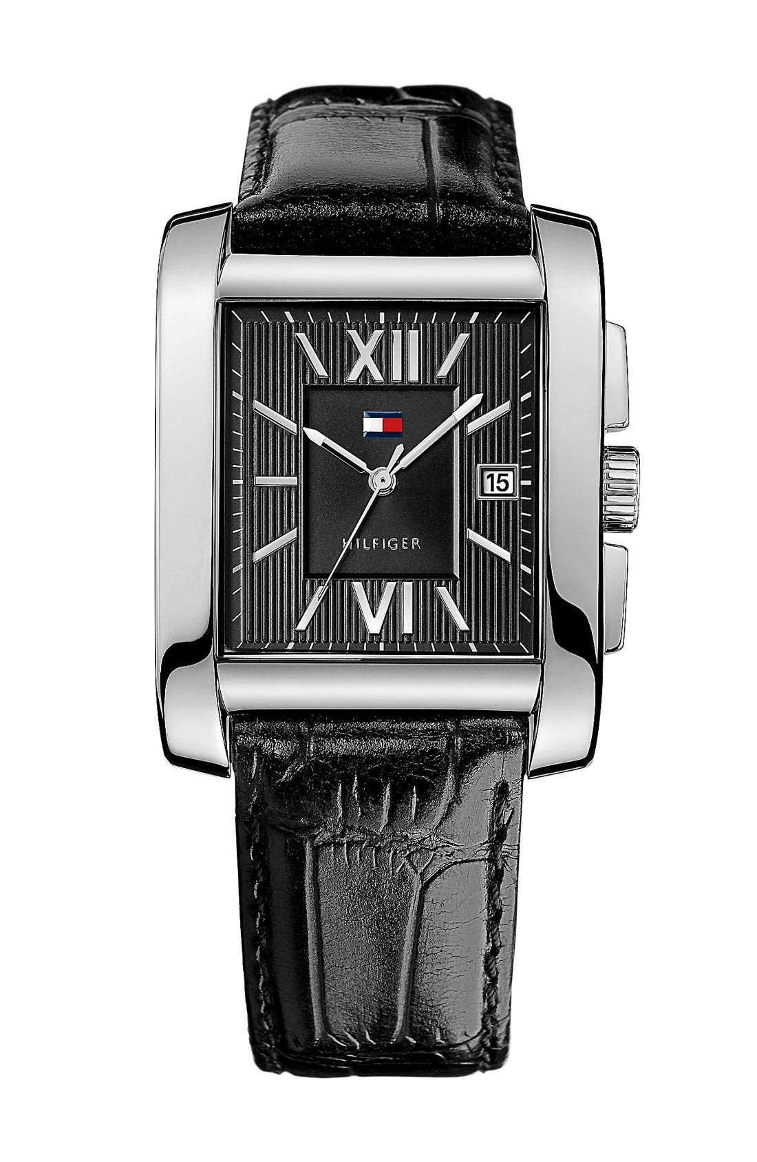 Main Image - Tommy Hilfiger Square Leather Strap Watch, 36mm x 47mm