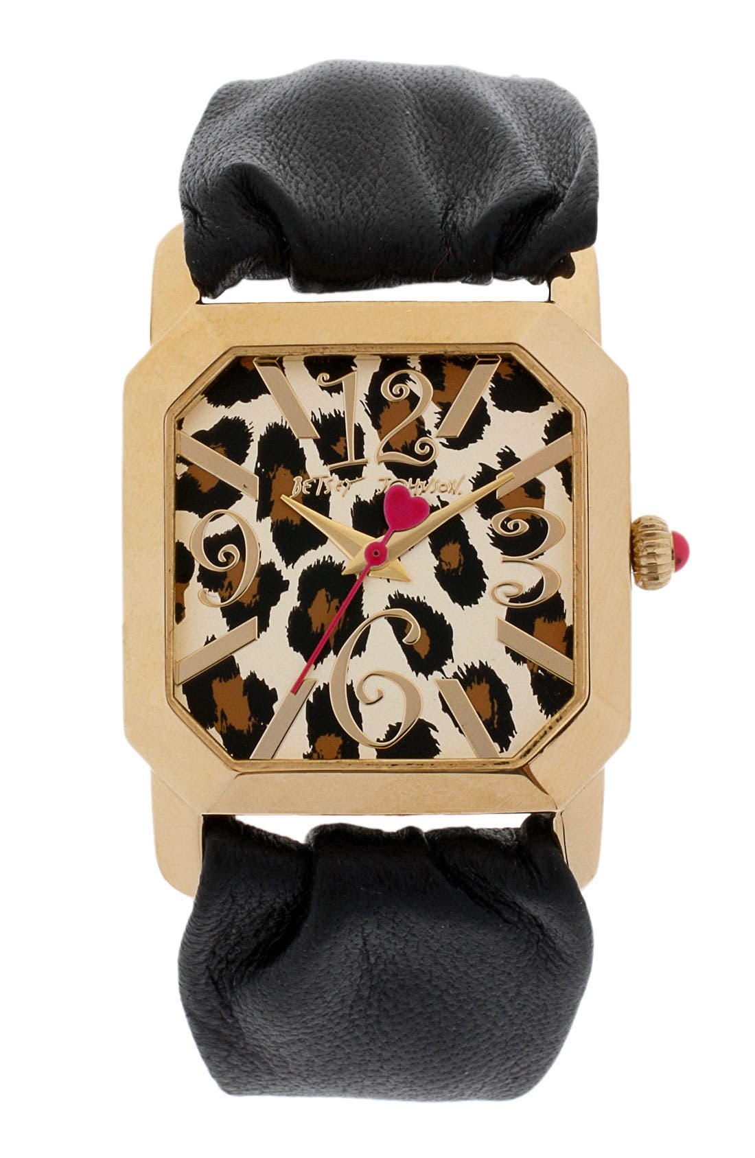 Main Image - Betsey Johnson Square Dial Leather Strap Watch