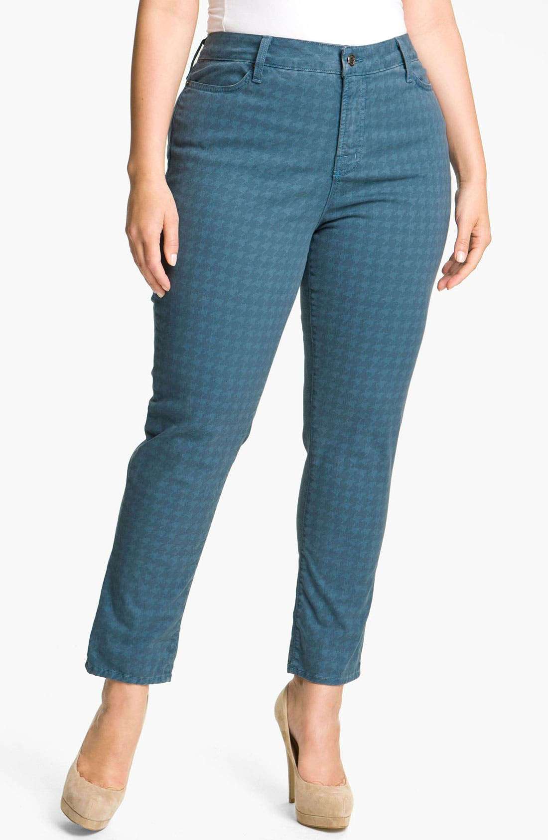 Alternate Image 3  - Blue Essence Houndstooth Twill Jeans (Plus)
