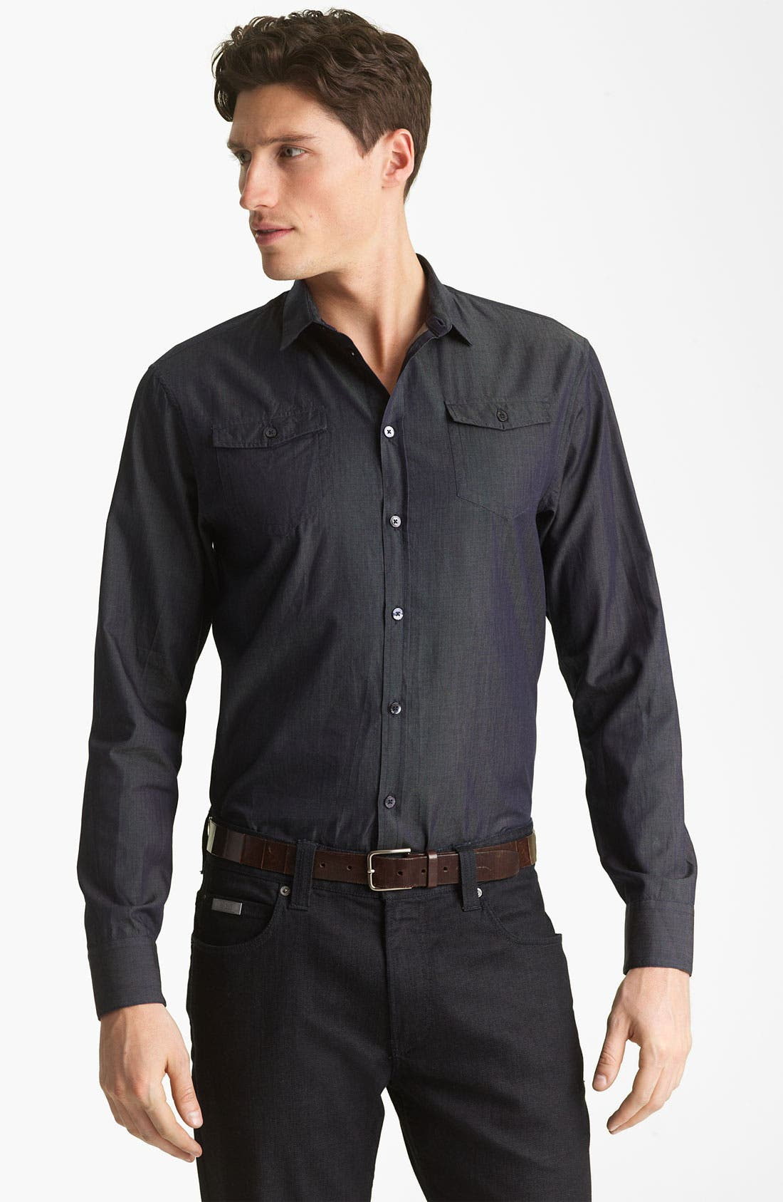 Alternate Image 1 Selected - Armani Collezioni Chambray Sport Shirt