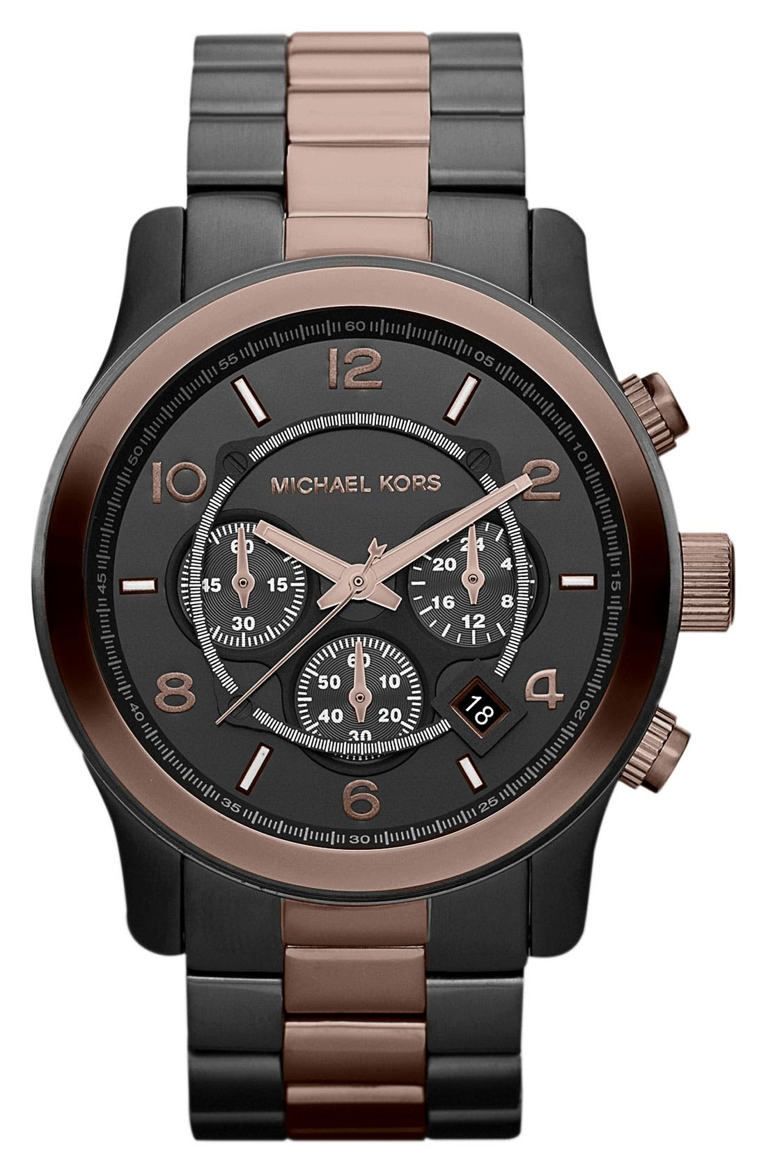 Main Image - Michael Kors 'Large Runway' Two Tone Chronograph Watch, 45mm