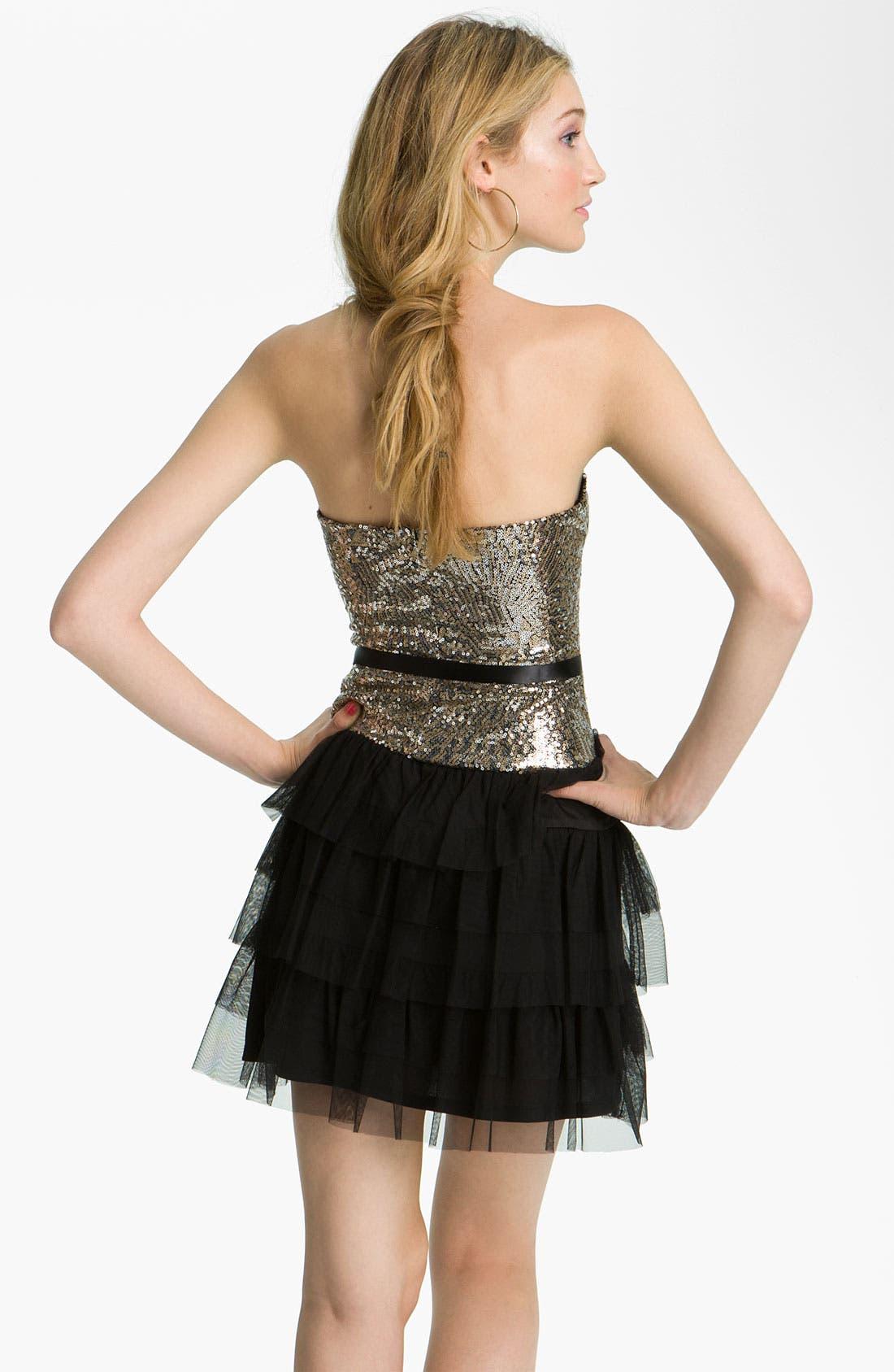 Alternate Image 2  - As U Wish Sequin & Ruffle Party Dress (Juniors)