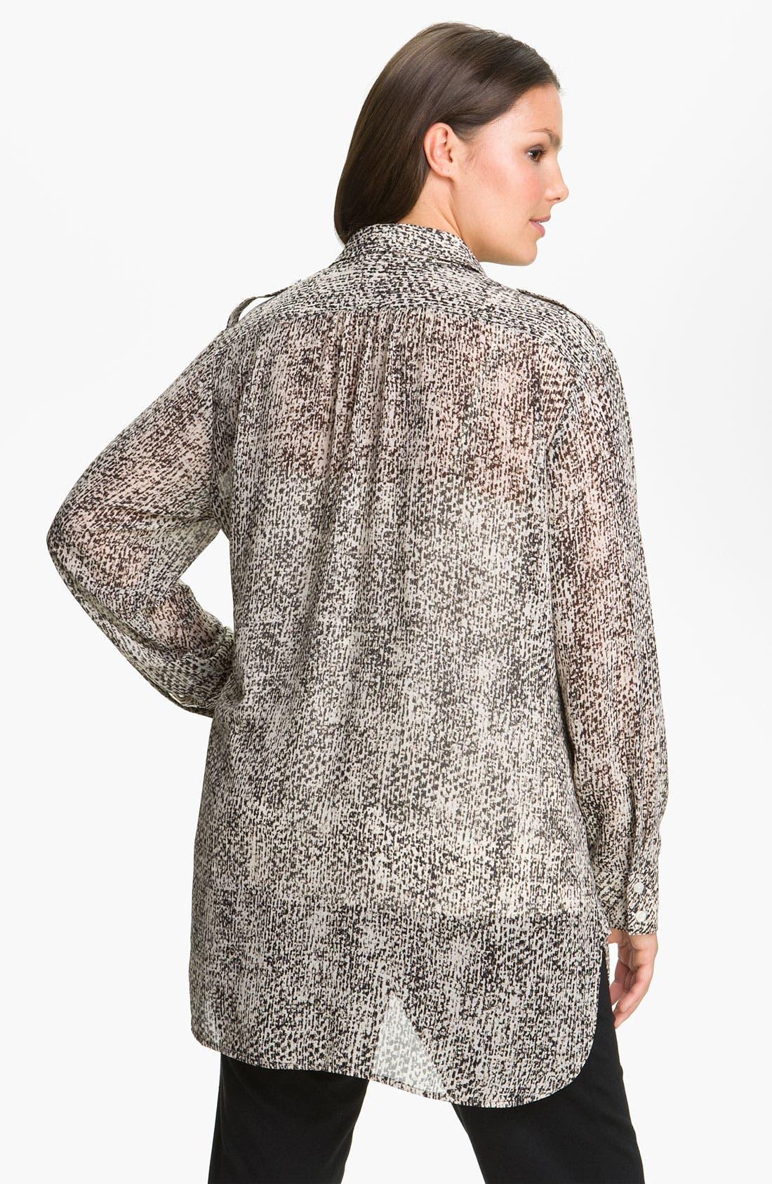 Alternate Image 2  - DKNYC Tweed Print Button Up Shirt (Plus)