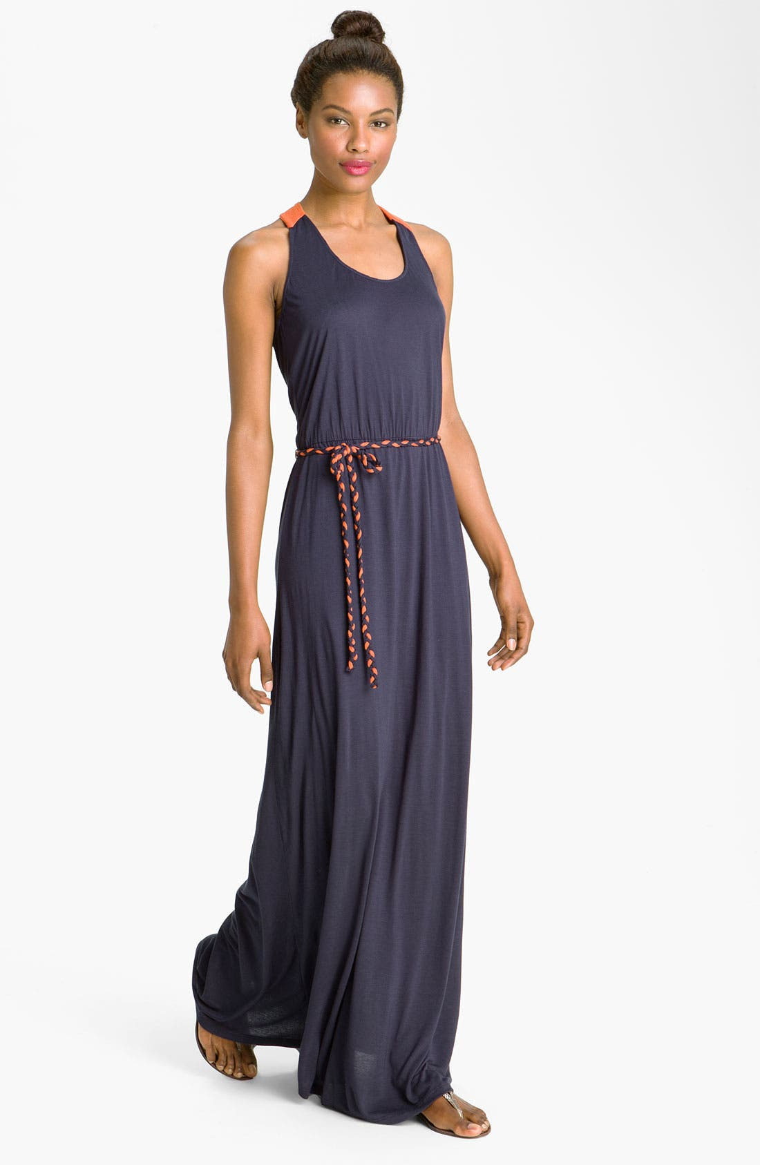 Alternate Image 1 Selected - Max & Mia Contrast Trim Maxi Dress