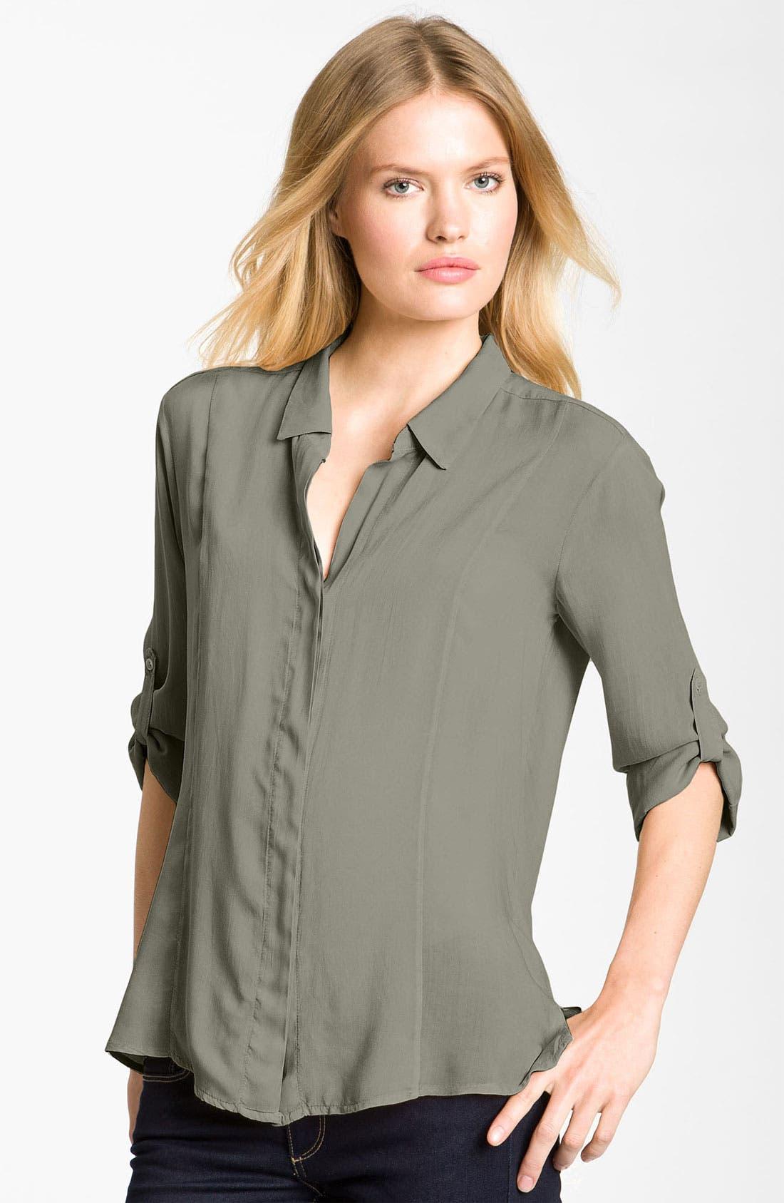 Alternate Image 1 Selected - James Perse Chiffon Tab Sleeve Shirt