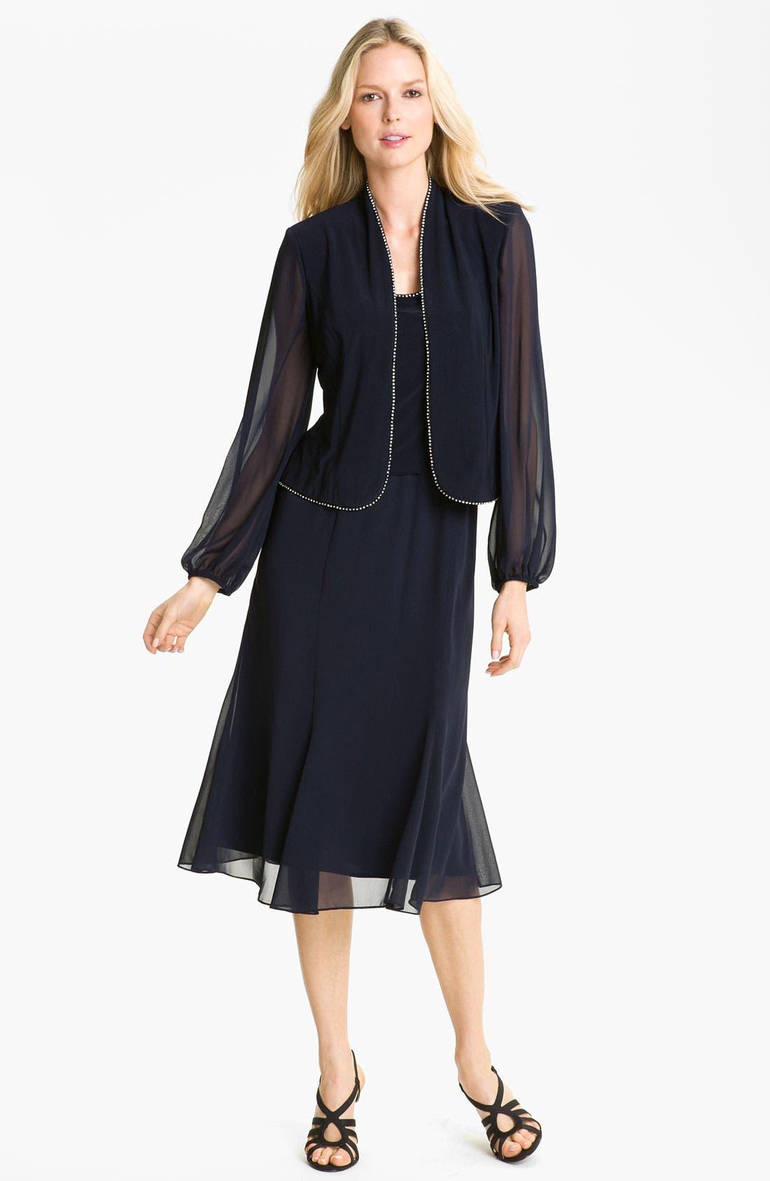Alternate Image 1 Selected - Alex Evenings Rhinestone Trim Mix Media Dress & Jacket