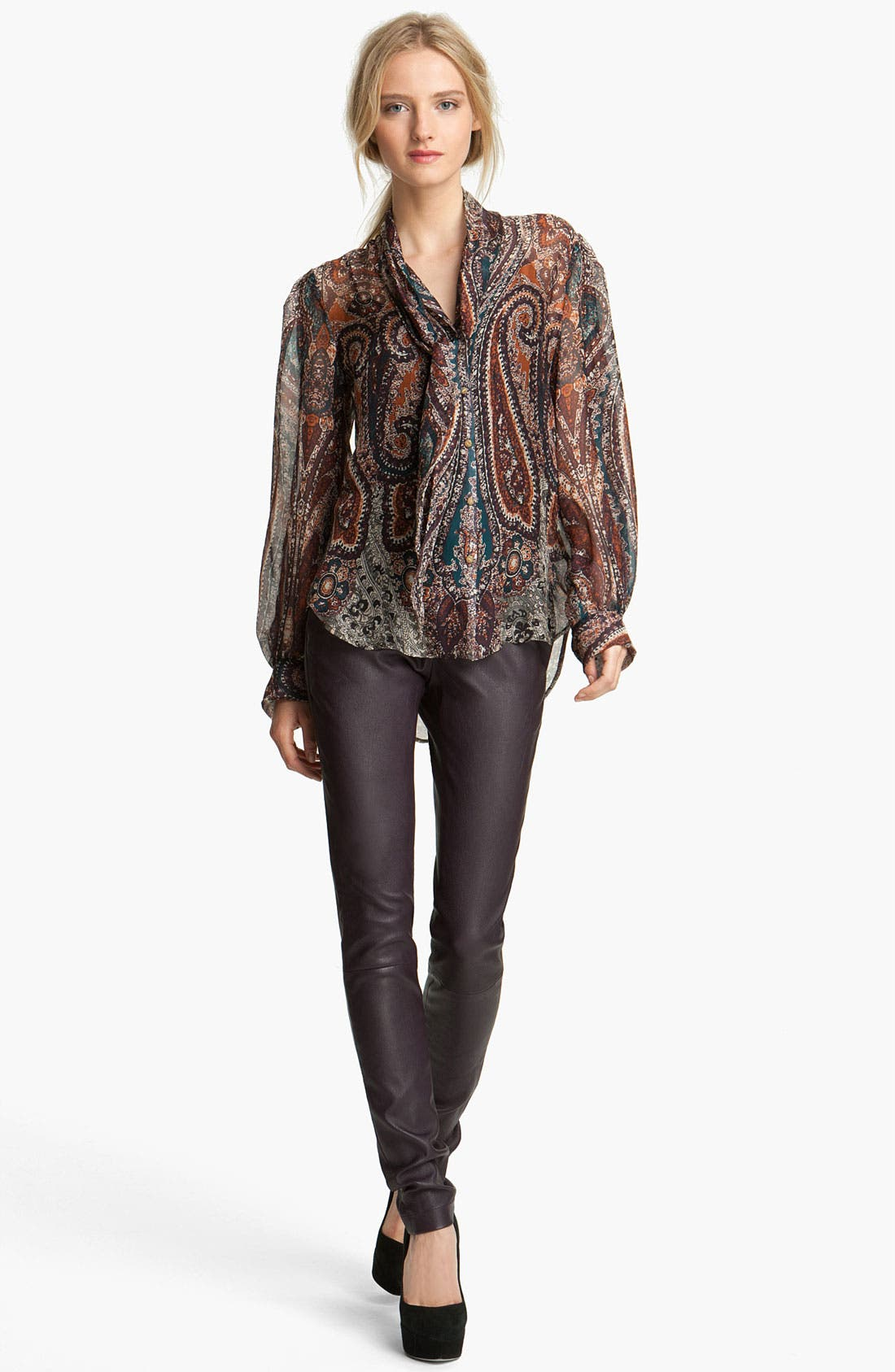 Main Image - L'AGENCE Print Tie Neck Blouse