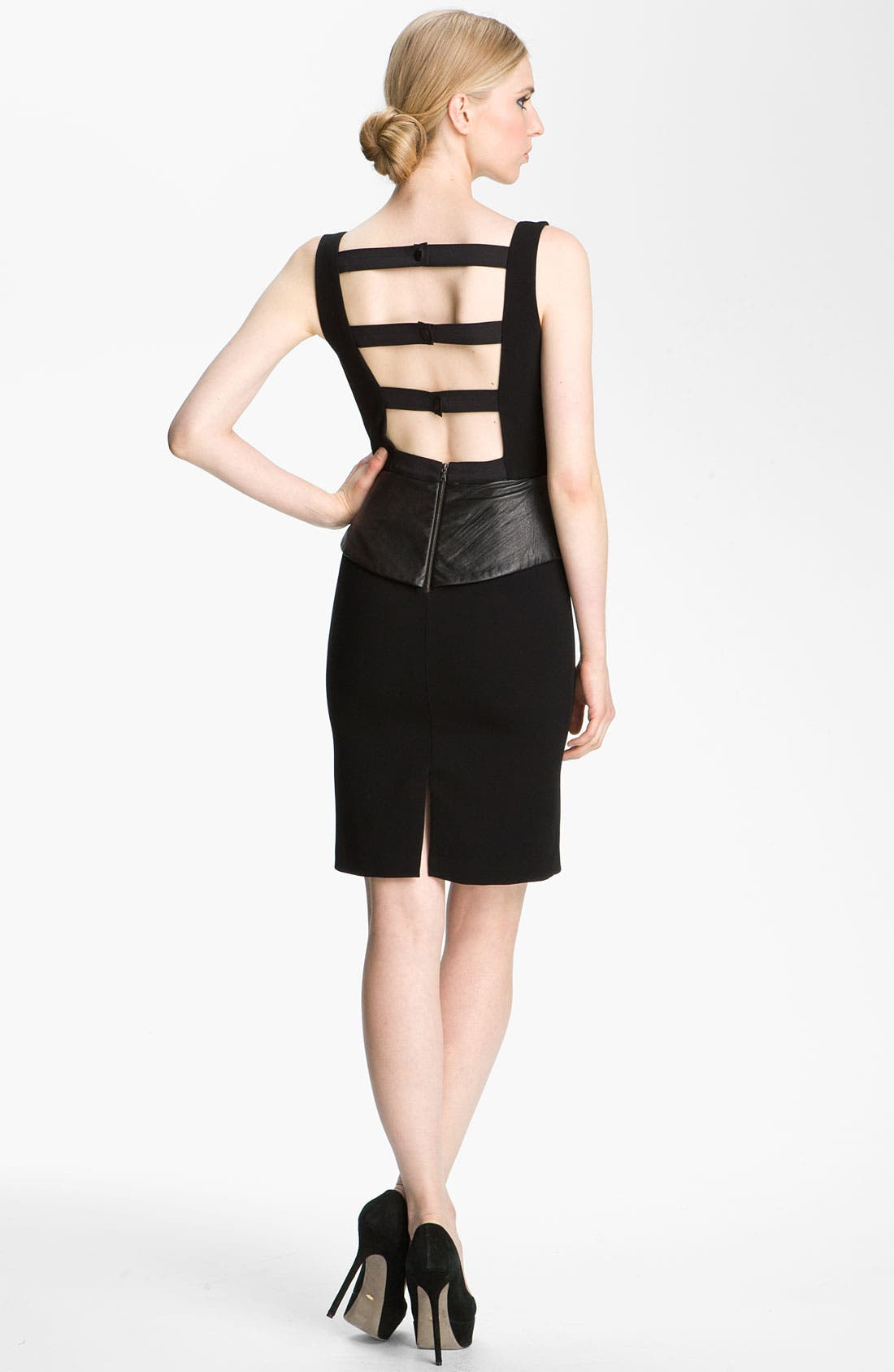 Alternate Image 2  - Alice + Olivia 'Maddy' Leather Peplum Sheath Dress