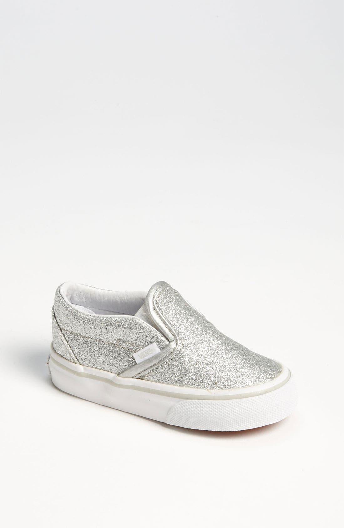 Alternate Image 1 Selected - Vans 'Classic - Glitter' Slip-On (Baby, Walker & Toddler)