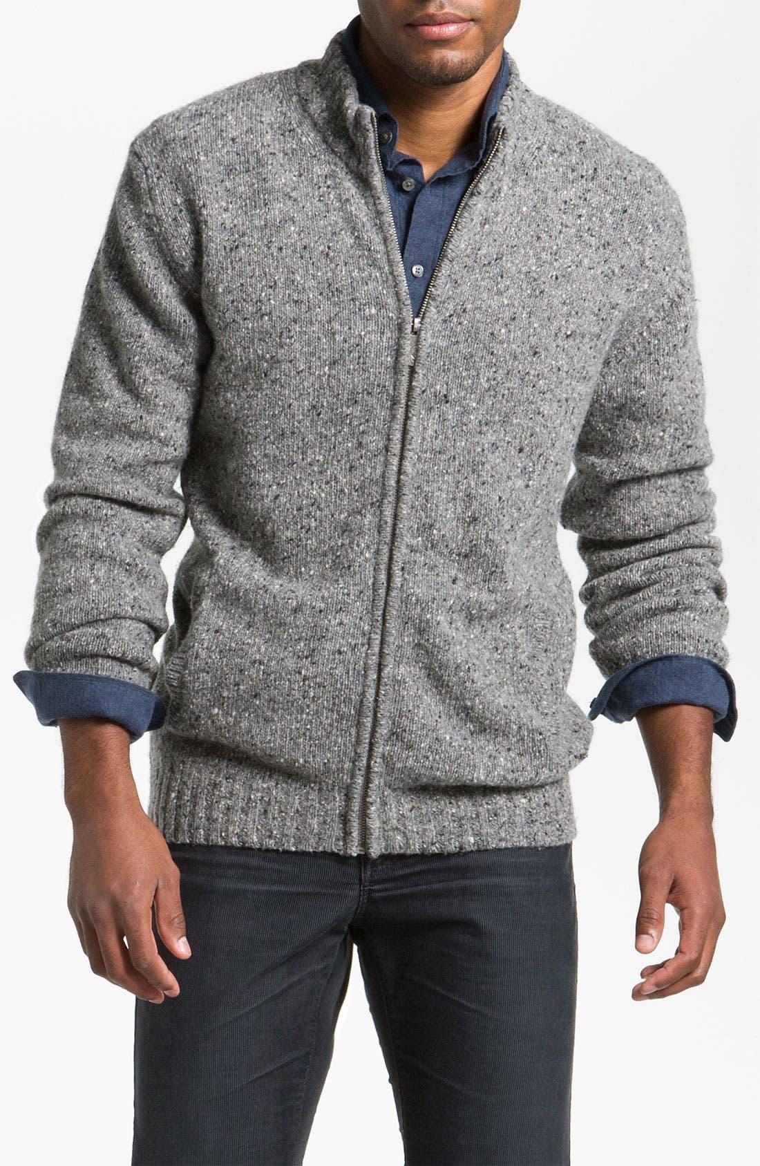 Main Image - Hickey Freeman 'Donegal' Wool Blend Zip Cardigan