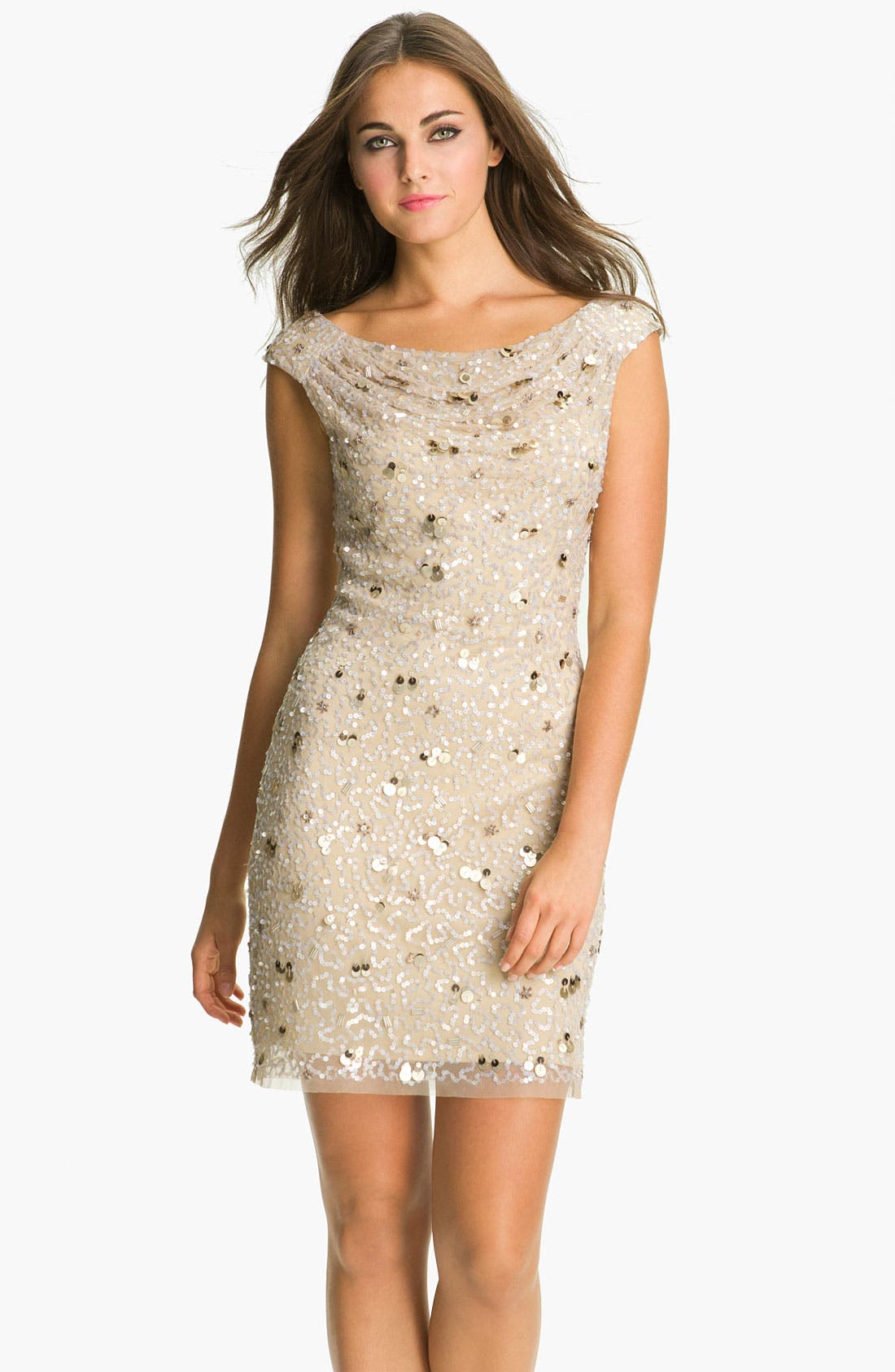 Main Image - Aidan Mattox Cowl Neck Embellished Sheath Dress (Online Only)