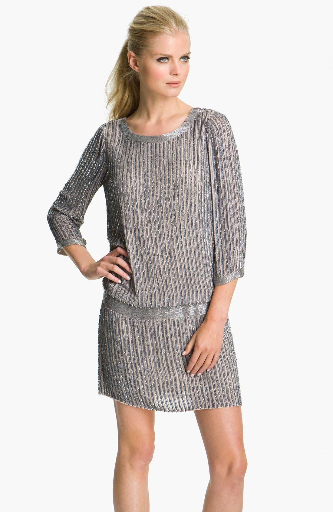 Main Image - Adrianna Papell Scoop Back Embellished Silk Blouson Dress