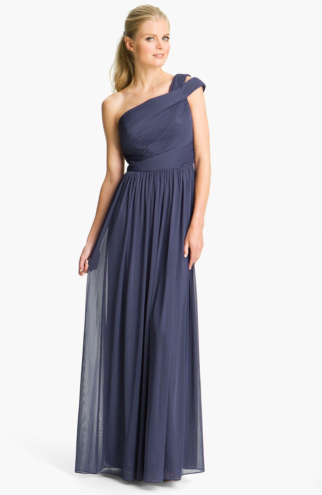 Main Image - ML Monique Lhuillier Bridesmaids Cutout One-Shoulder Mesh Gown (Nordstrom Exclusive)