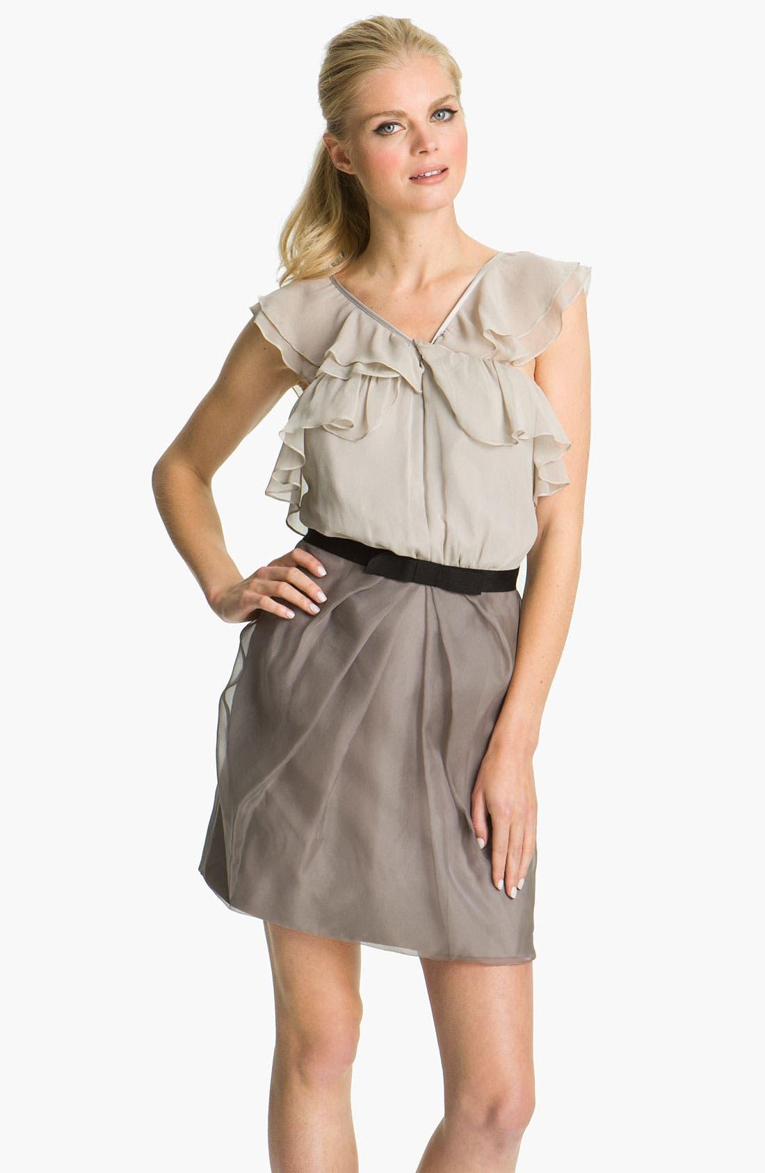Main Image - Vera Wang Lavender Ruffle Bodice Silk Dress