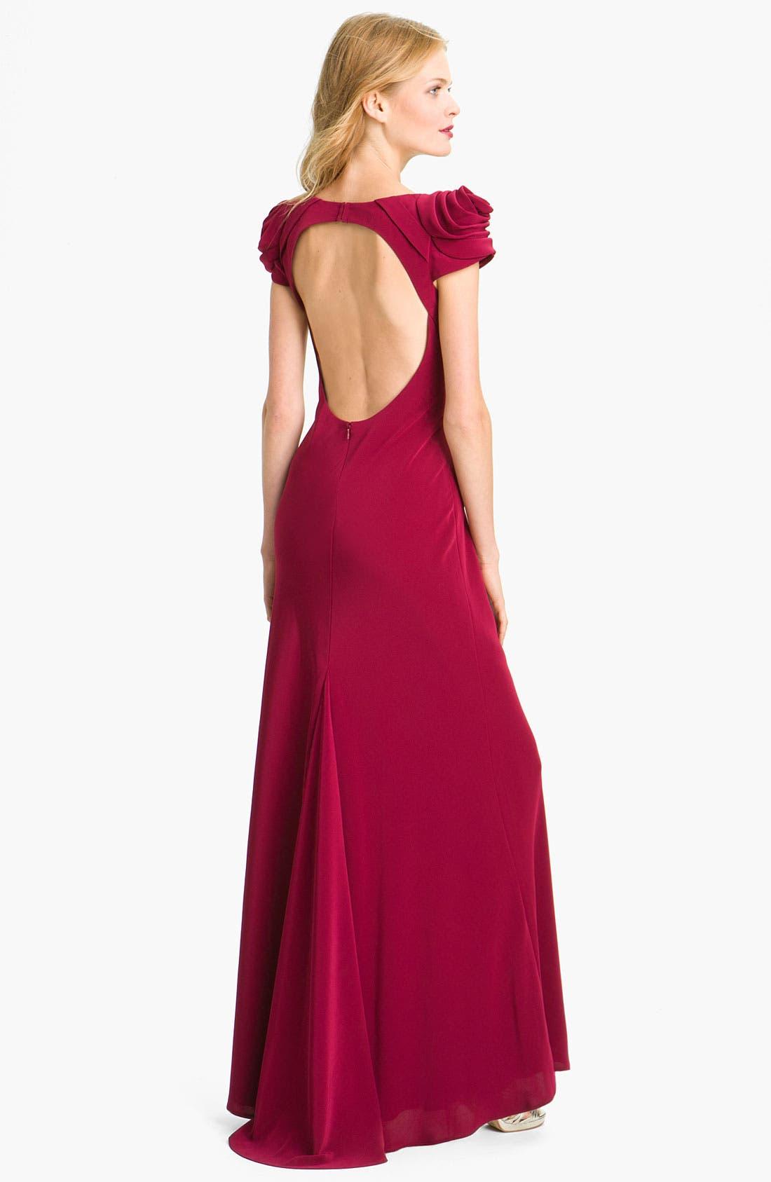 Alternate Image 2  - ABS by Allen Schwartz Rosette Detail Open Back Jersey Gown
