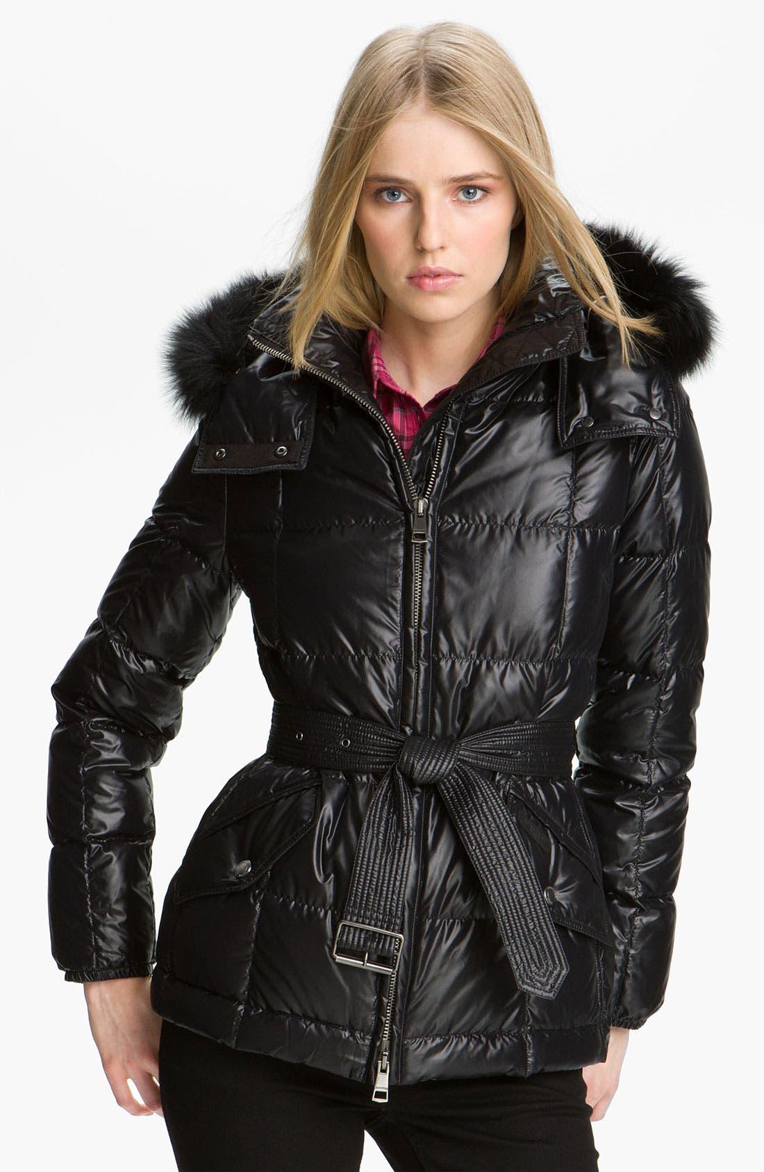 Main Image - Burberry Brit Quilted Genuine Fox Fur Trim Coat
