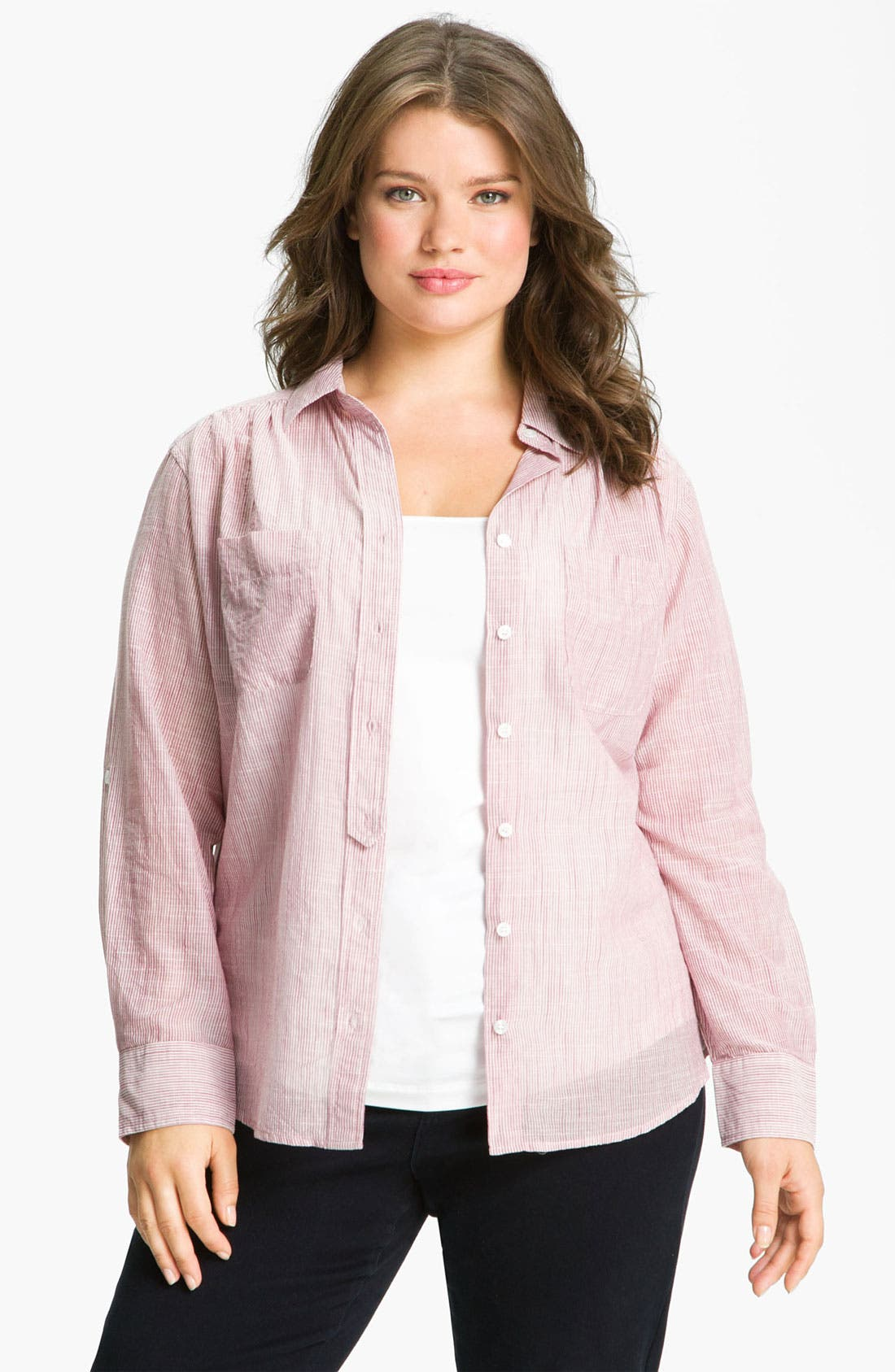 Alternate Image 1 Selected - Sandra Ingrish Stripe Roll Sleeve Shirt (Plus)