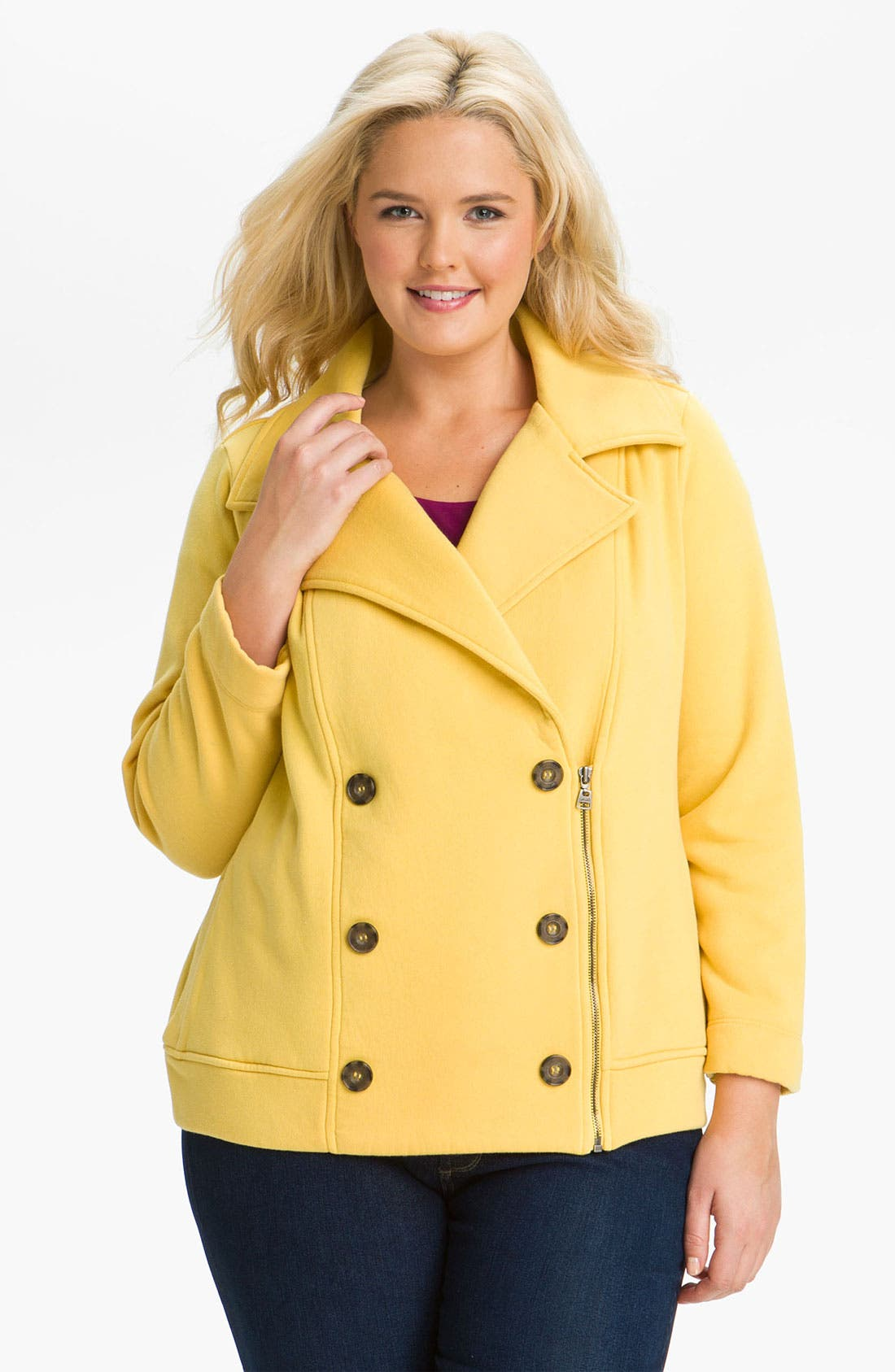 Main Image - Splendid Moto Peacoat (Plus)