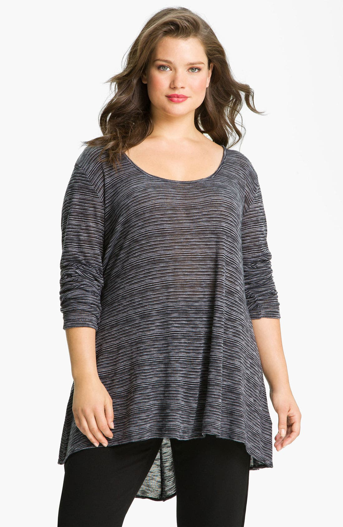 Alternate Image 1 Selected - Allen Allen Sweater Stripe Asymmetric Tee (Plus)