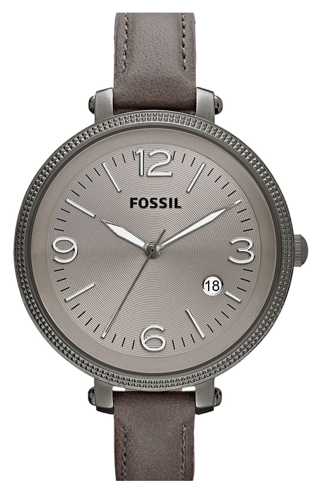 Main Image - Fossil 'Heather' Round Leather Strap Watch, 42mm