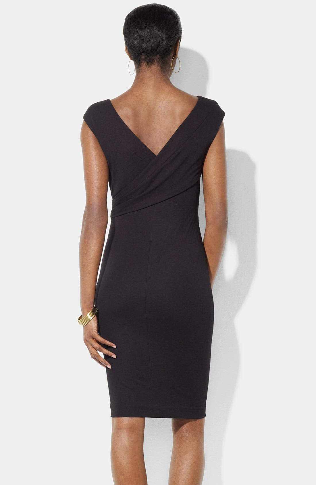 Alternate Image 2  - Lauren Ralph Lauren Double V-Neck Jersey Sheath Dress
