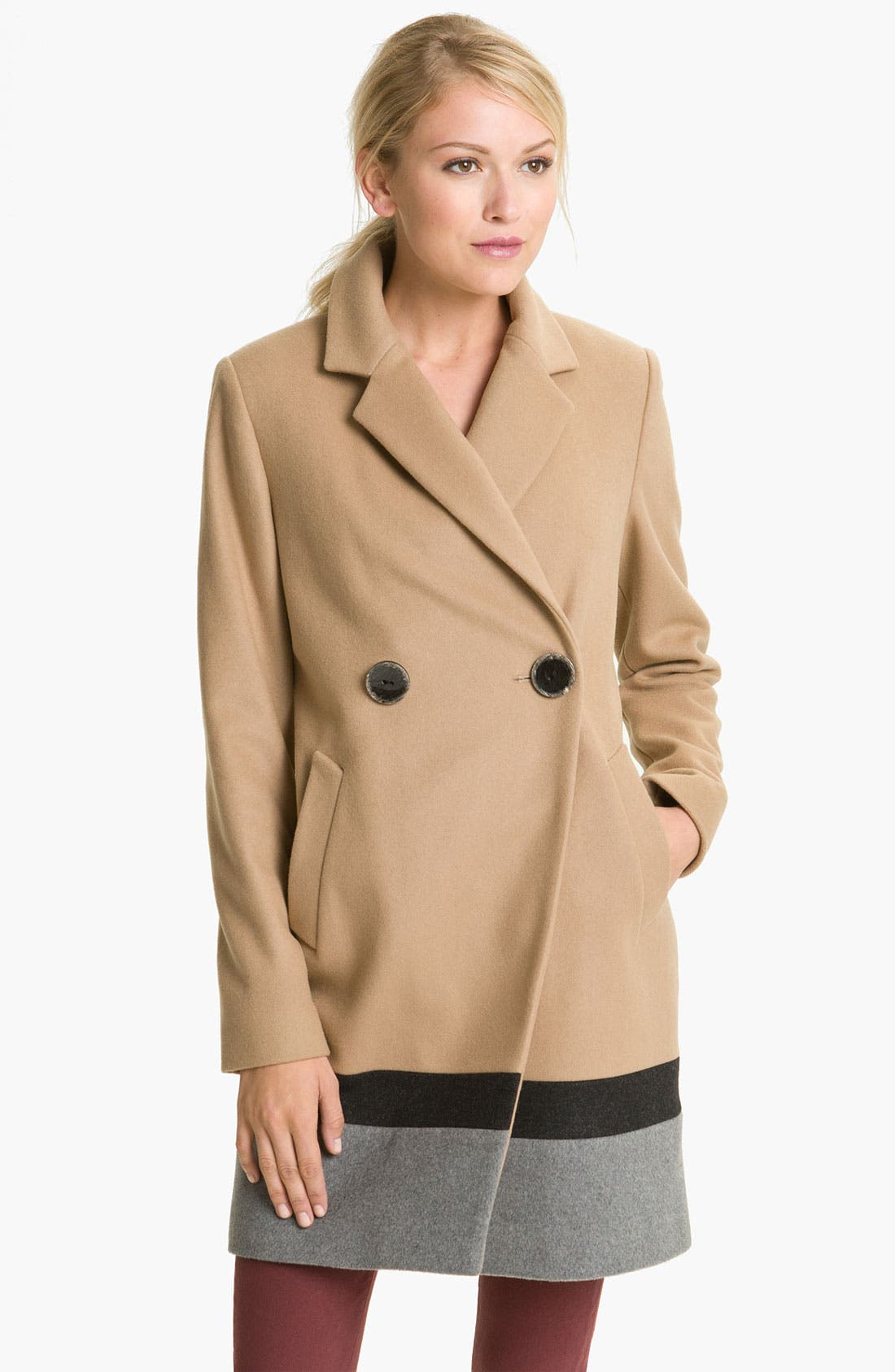 Main Image - Vince Camuto Colorblocked Wool Blend Coat