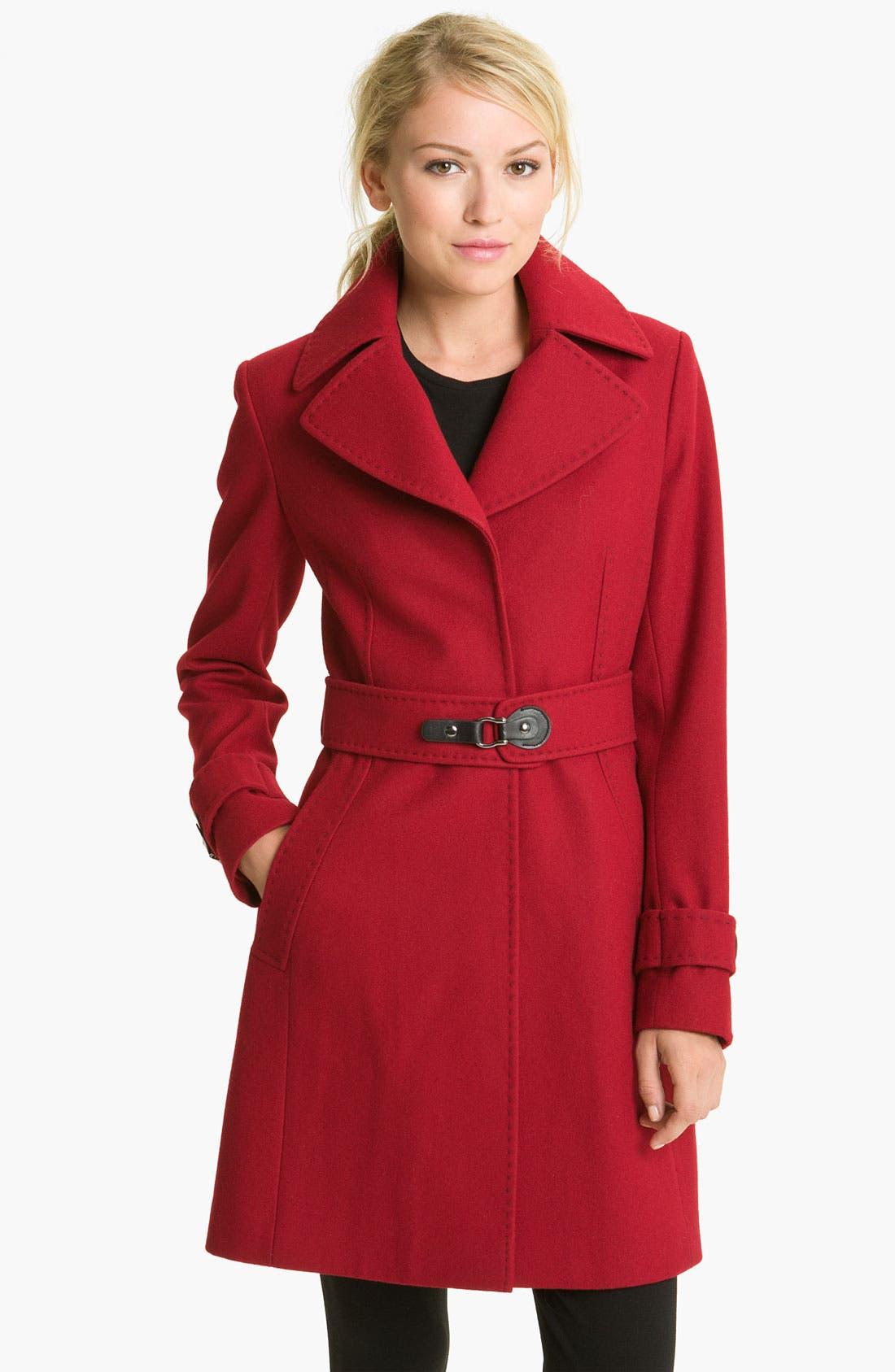 Main Image - Via Spiga 'Dora' Pickstitch Detail Wool Blend Coat