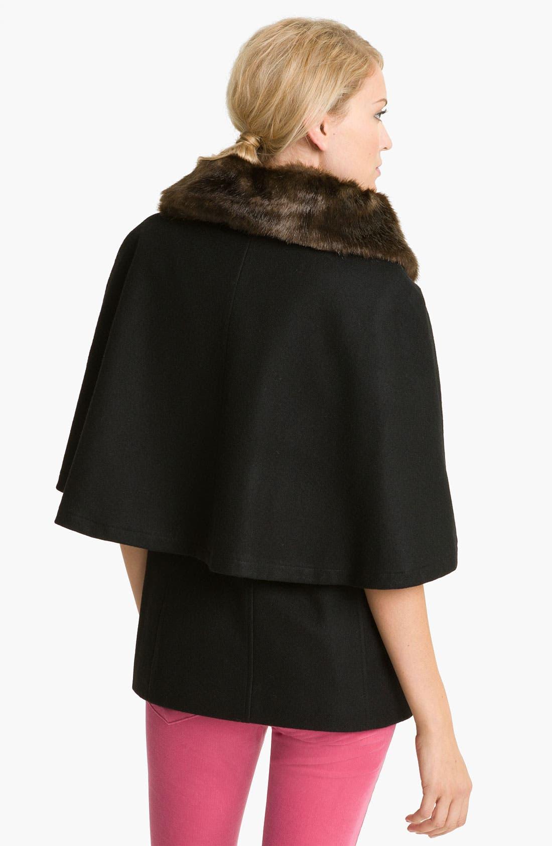 Alternate Image 2  - Betsey Johnson Faux Fur Collar Cape (Online Exclusive)
