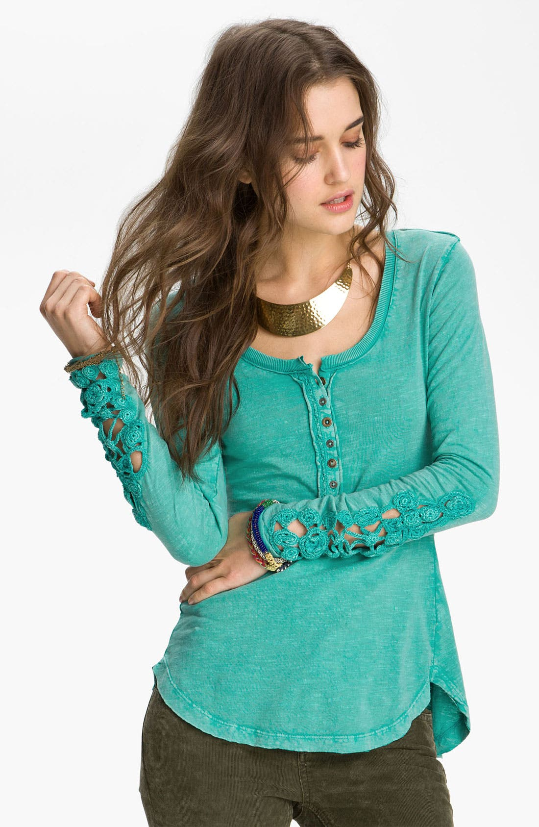 Main Image - Free People Crochet Cuff Henley