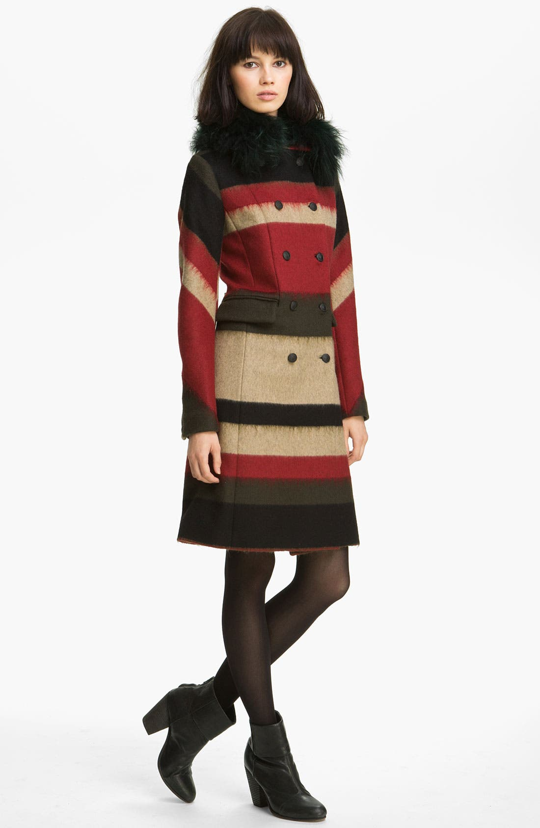 Main Image - rag & bone 'Winsor' Stripe Coat with Removable Shearling Collar