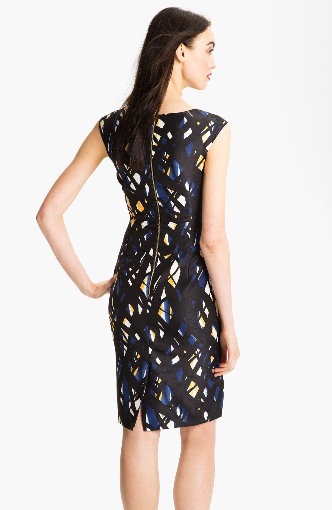 Alternate Image 2  - Tahari Print Pleated Yoke Sheath Dress